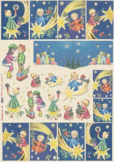 Hartie decoupage 80 gr, 50 x 70, - DFG339 - Children and comet