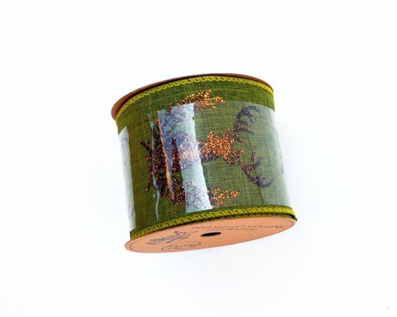 372407 - Rola panglica sintetica - 6x27cm - verde cu ren glitter bronz - ANT-CH
