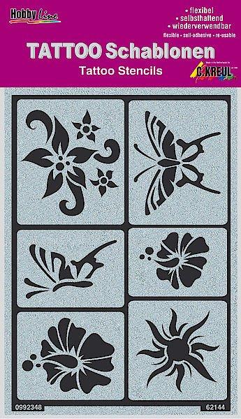 62144 Sablon tatuaje autoadeziv Sun, flowers, butterflies - C. Kreul
