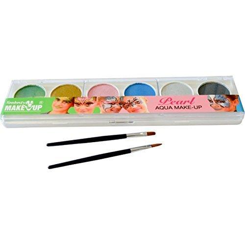 37072 Set 6 pastile culori metalizate pt fata si corp + 2 pensule Fantasy Make-up - Kreul