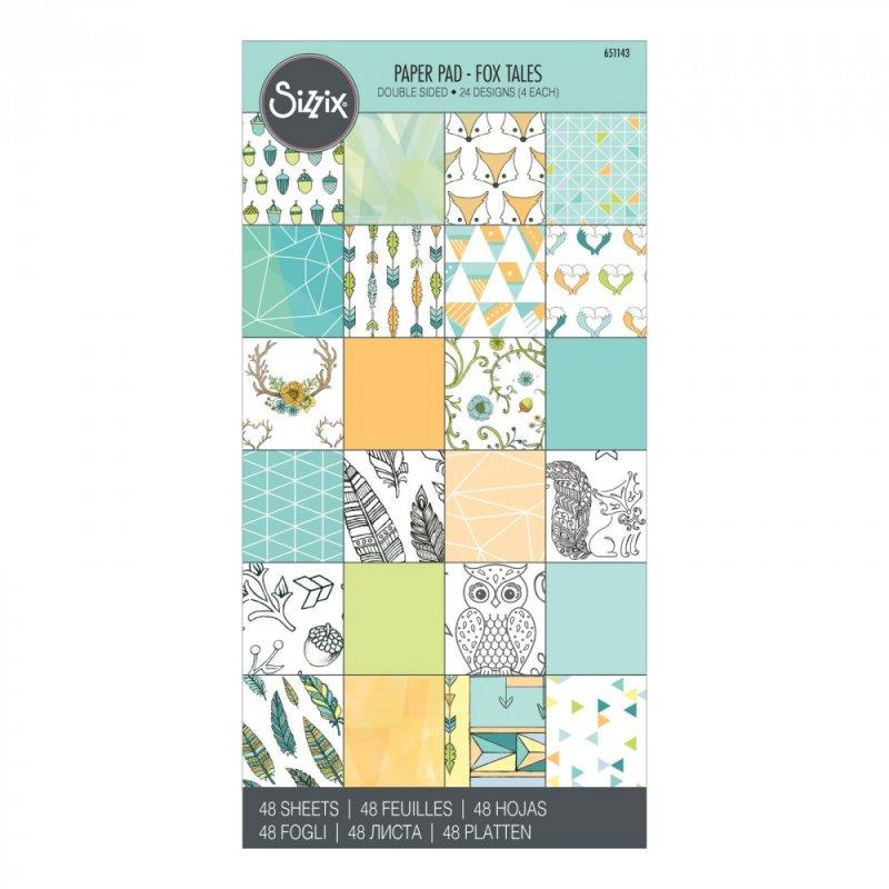 49 - 651143 - Bloc 48 hartii scrapbooking cu doua fete, 15.24 x 30.48 cm - Fox tales - SIZZIX