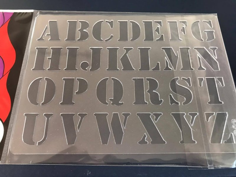 24102 - Sablon plastic A5 , 3D - S23 alfabet - Pentart
