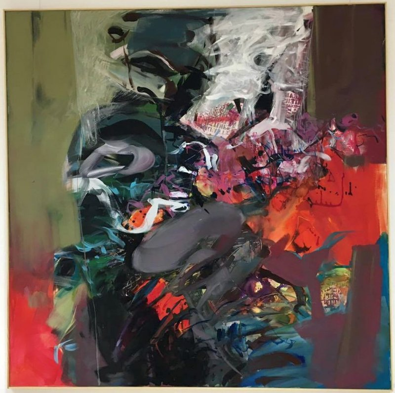 Tablou pe panza - 150x150cm - Compozitie abstracta si urme mixed media