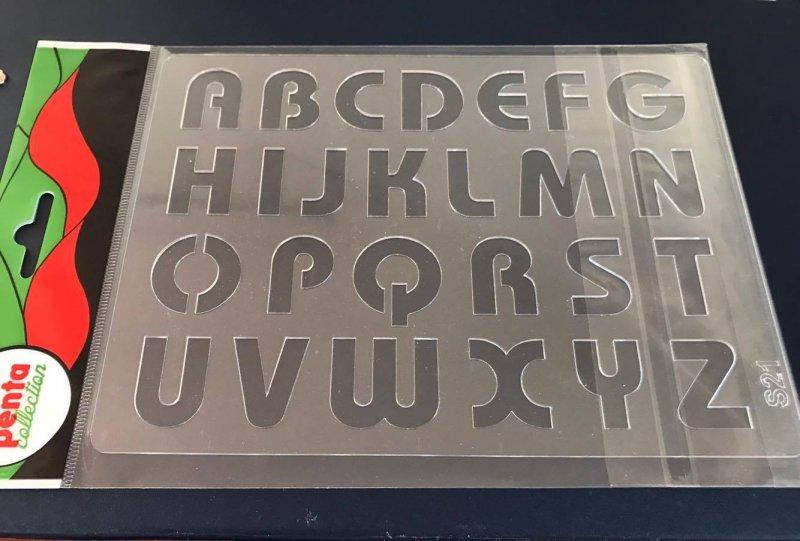 24100 - Sablon plastic A5 , 3D - S21 alfabet - Pentart