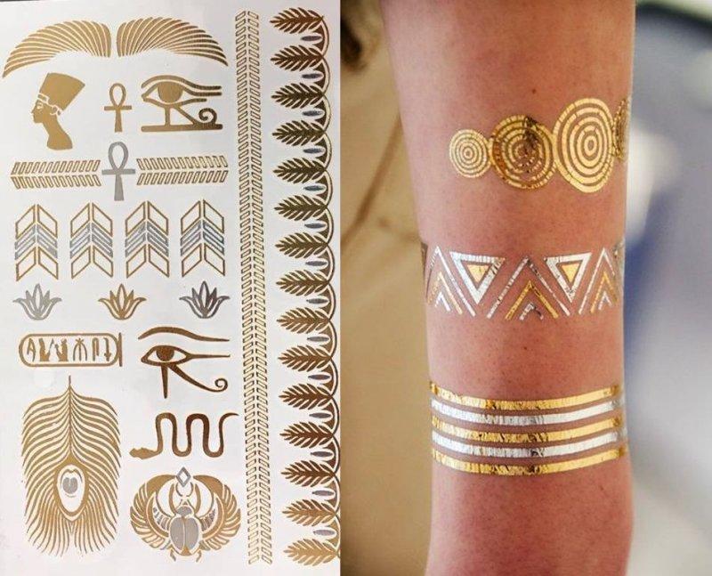 TC-03 - Tatuaj temporar, motive egiptene - efect auriu si argintiu - KI-SIGN