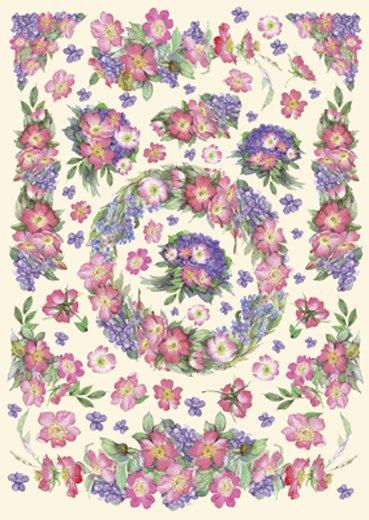 Hartie decoupage 80 gr, 50 x 70, Rosses/ violets - DFG254