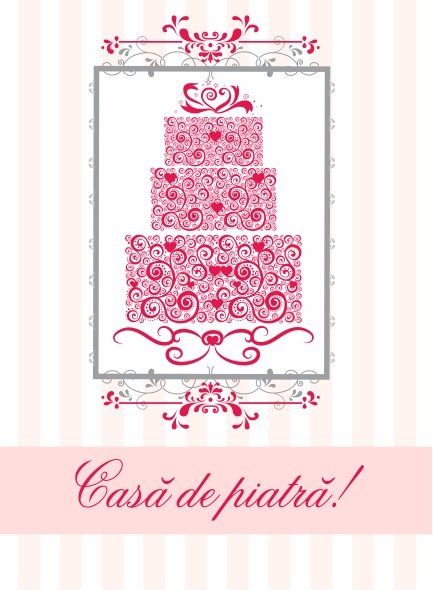 N0004 Felicitare - Casa de piatra - roz - LIBR