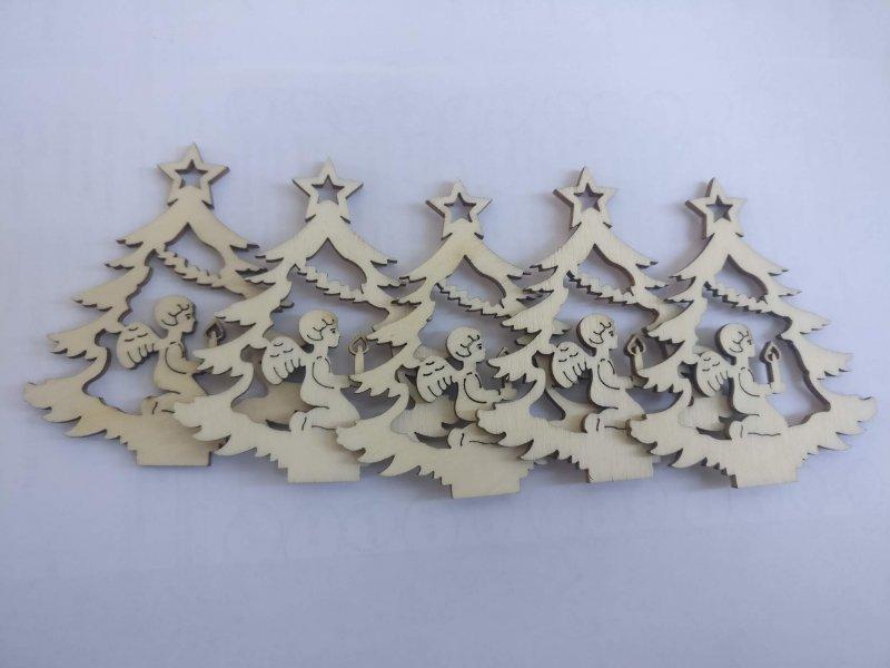 22879 - Set 5 figurine lemn - nr. 118 - pentru pictat - brad cu ingeras