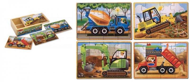 MD3792 - Set 4 puzzle de lemn in cutie - Vehicule pentru constructii, 3 ani plus