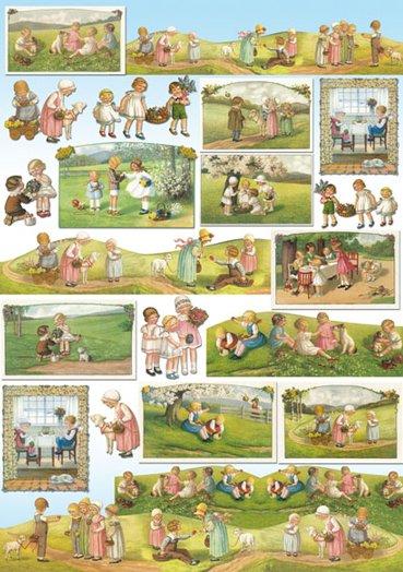 Hartie decoupage 80 gr, 50 x 70, - DFG319 Country children-DISC
