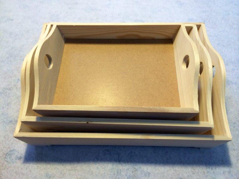 Set 3 tavi lemn / MDF - natur - RIL