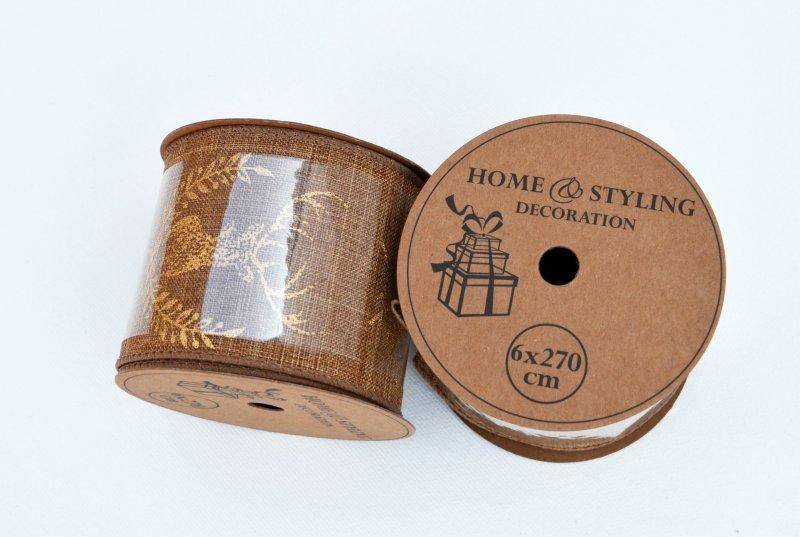 Rola panglica sintetica - 6x27cm - natur cu ren auriu - ANT-CH