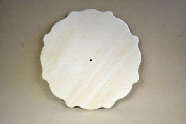 355006 - Cadran ceas lemn rotund, margini serpuite, 40cm ANT-CH