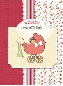 N0008 Felicitare - welcome baby - visinie - LIBR