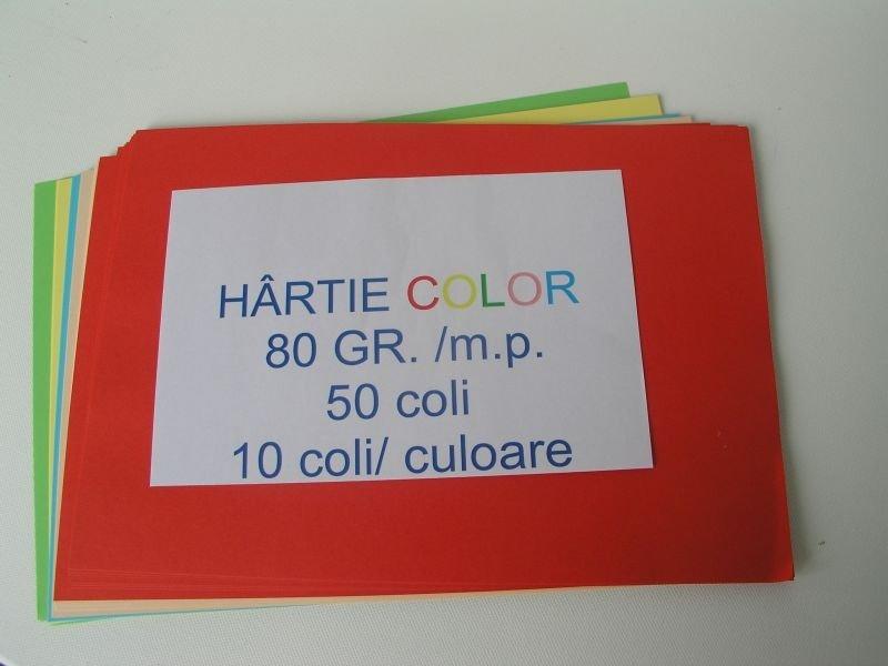 Hartie colorata A4, set 50 coli, 80 gr LIBR