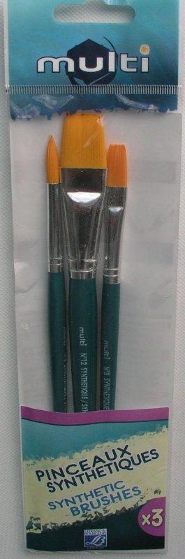 Set 3 pensule sintetice - Multi - 201023