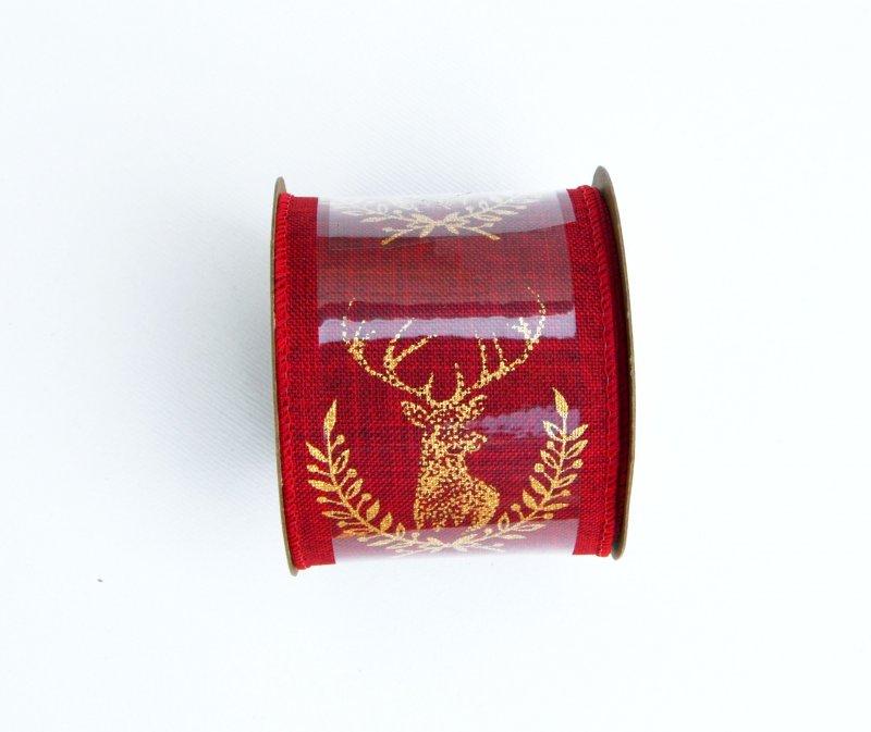 Rola panglica sintetica - 6x27cm - rosie cu ren auriu - ANT-CH
