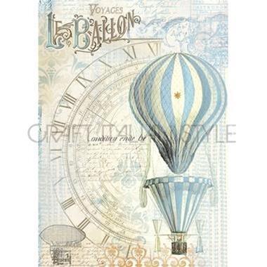 DFSA4114 - Hartie de orez Stamperia A4 - baloon light blue