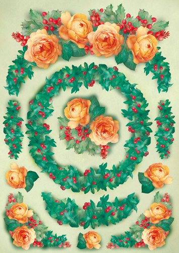 Hartie decoupage 80 gr, 50 x 70, Yellow roses and ivy Xmas - DFG303
