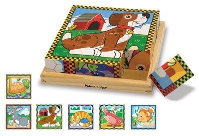 MD3771 - Puzzle lemn din cuburi - Animale de casa, 3 ani plus