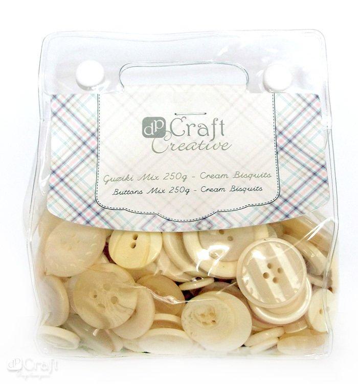 CEGU-008 - Nasturi plastic asortati, 250gr, nuante crem biscuit, dimensiuni diferite - DP-CRAFT