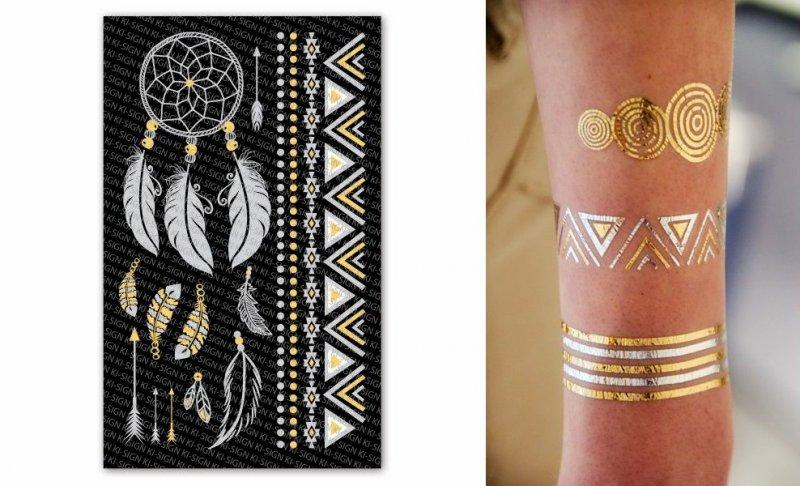 TC-02 - Tatuaj temporar , pene - efect auriu si argintiu - KI-SIGN