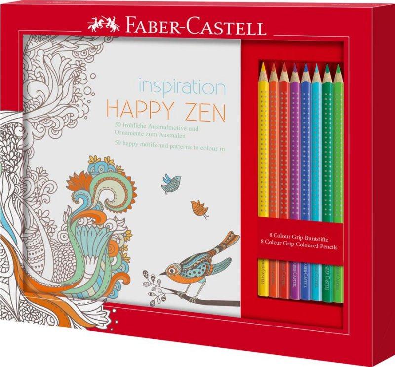 201433 Set Cadou Happy Zen 8 Creioane Colorate Grip + Carte Colorat Faber-Castell