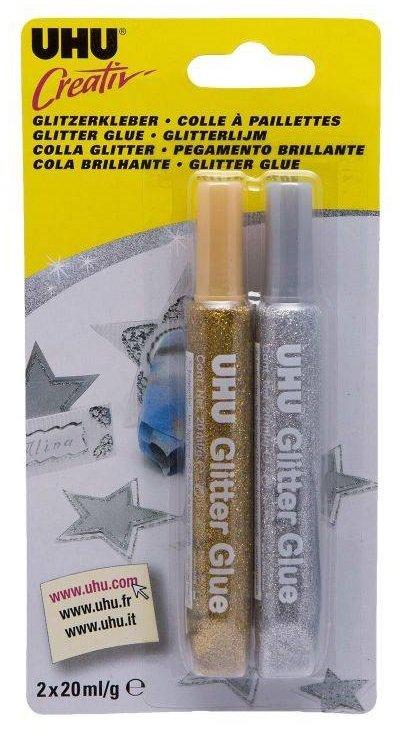 771188 UHU Creativ Glitter glue Auriu/Argintiu 2 x 20 ml - 44120