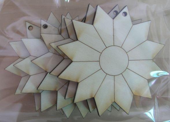 Set 5 forme lemn, nr 61, Pentart, floare