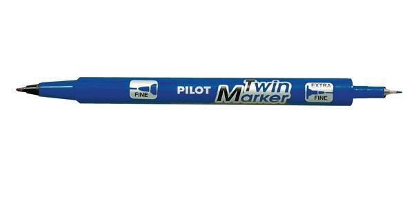 Marker Twin Albastru - 2 varfuri F/M - Pilot