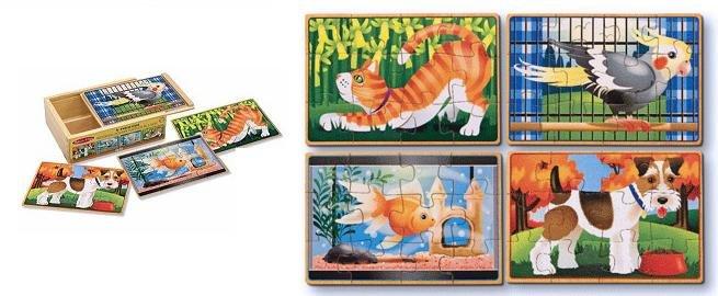 MD3790 - Set 4 puzzle de lemn in cutie - Animale de companie, 3 ani plus