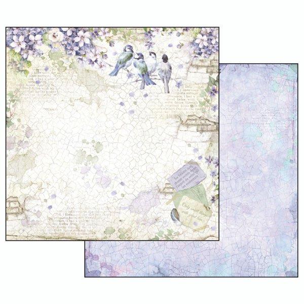 SBB503 - Hartie scrapbooking 31.2X30.3CM - Flower alphabet birds in violet - Stamperia