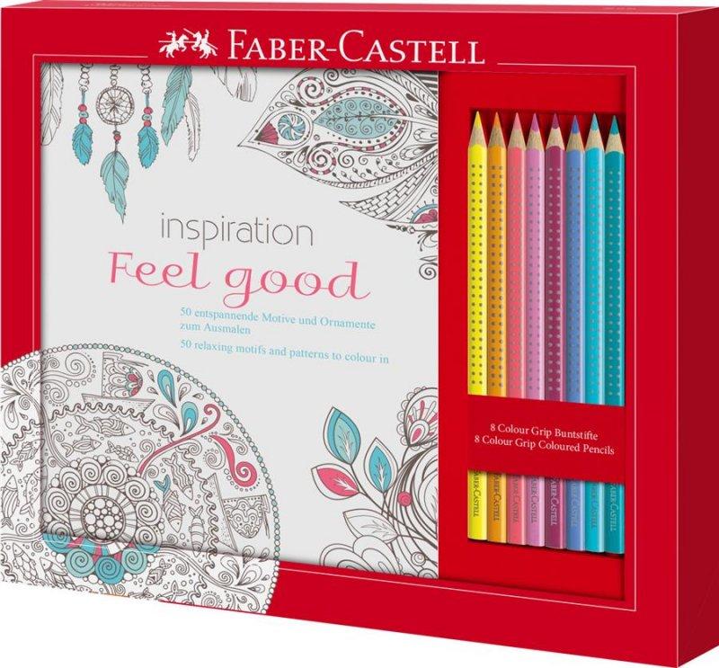 201434 Set Cadou Feel Good 8 Creioane Colorate Grip + Carte Colorat Faber-Castell