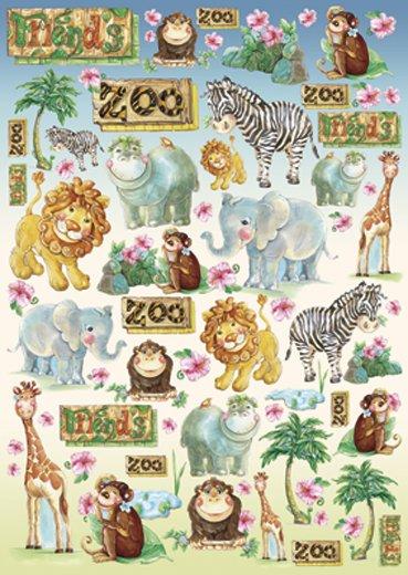 Hartie decoupage 80 gr, 50 x 70, Baby zoo - DFG299-DISC