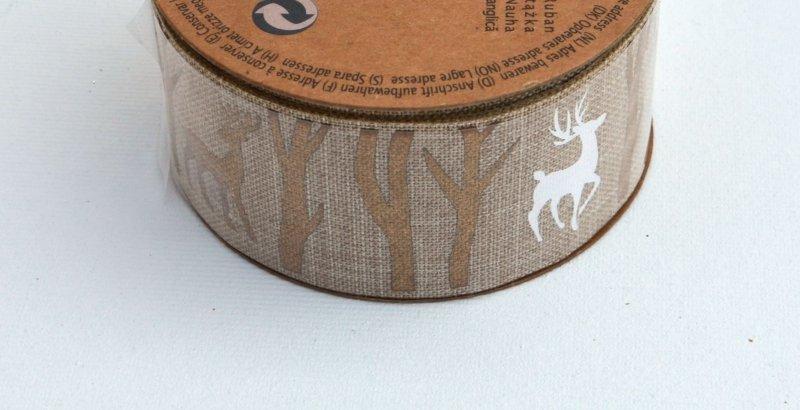 Rola panglica sintetica - 4x27cm - natur cu reni aurii - ANT-CH
