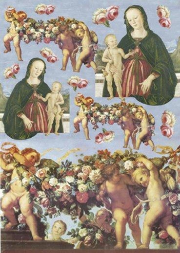Hartie decoupage 80 gr, 50 x 70, Angels / Roses - DFG285