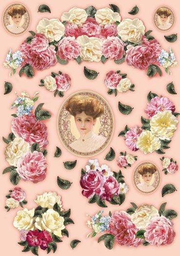 Hartie decoupage 80 gr, 50 x 70, Romantic lady - DFG327