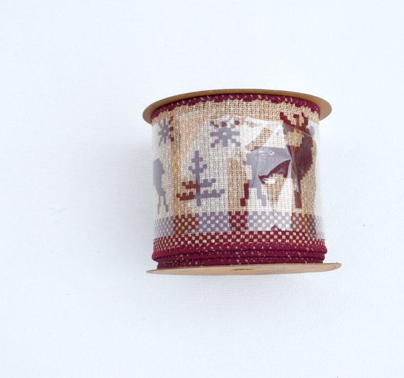 Rola panglica sintetica - 6x27cm - natur cu reni rosii - ANT-CH