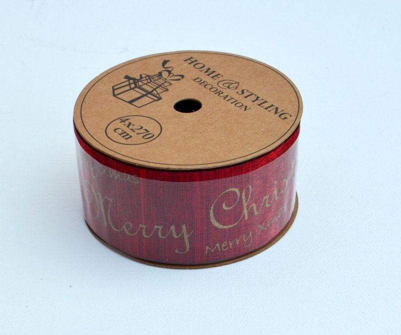 Rola panglica sintetica - 4x27cm - rosie Merry Chrismas - ANT-CH
