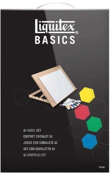 Set culori acrilice Liquitex Basics si sevalet mare A2