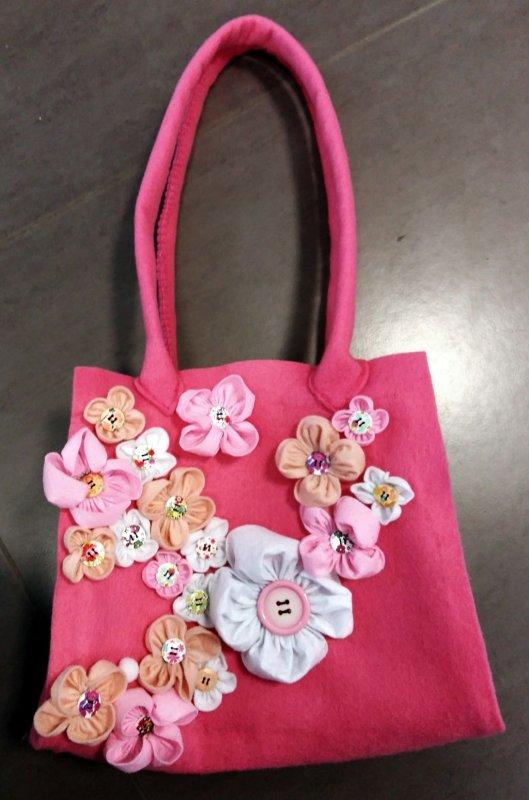 Poseta fetru - roz cu floricele - 23x27x55cm - C. Art
