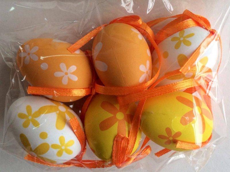 601022 - M2 - Set 6 oua 4cm - galben - orange cu floricele - ANT-CH