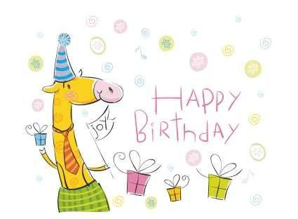 HB0001 Felicitare - Happy birthday - girafa - LIBR