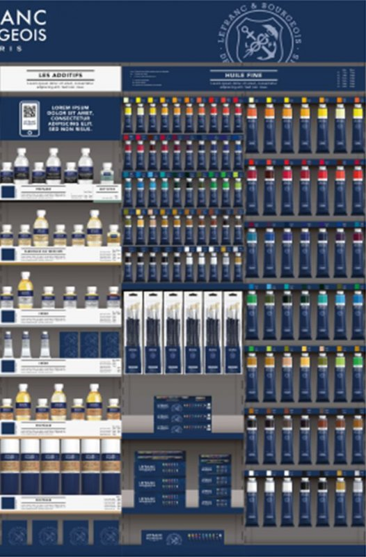 Display 144 Culori ulei FINE, 150 ml - Lefranc Bourgeois
