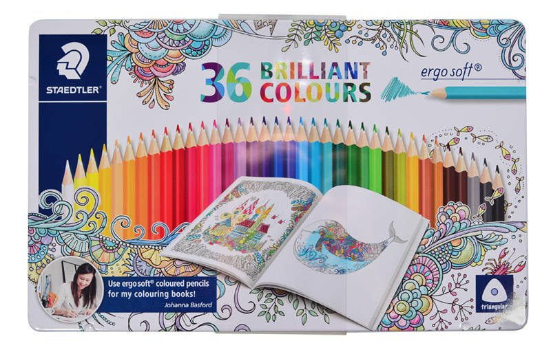 157-M36JB Set 36 creioane colorate Ergo Soft in cutie metalica- Adult Coloring - Staedtler