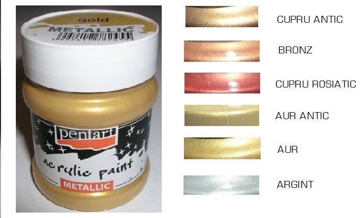 Culori acrilice metalizate 230 ml - Pentart