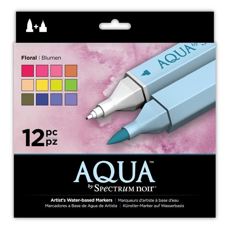 SPECN-AQ12-FLO Set 12 Markere Spectrum Aqua - Floral - Crafters Companion